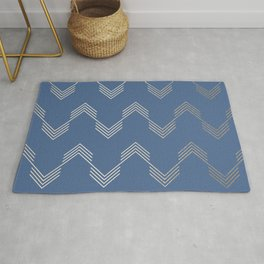 Simply Deconstructed Chevron White Gold Sands  on Aegean Blue Rug