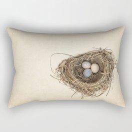 Bird Nest with Stone Eggs on Vintage Paper Rectangular Pillow