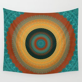 Copper Teal Mandala Wall Tapestry