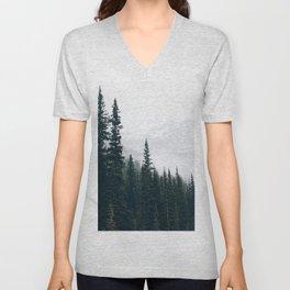 Evergreens in the fog Unisex V-Neck