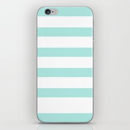 Aqua blue and White stripes lines - horizontal iPhone Skin