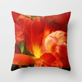 Red Parrot Tulips close up IV Throw Pillow