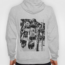 Snowboard Season in Black and White Hoody
