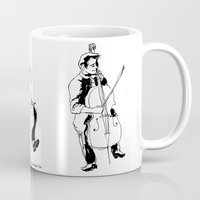 cello Mugs featuring Cello player by Suzannah Rowntree
