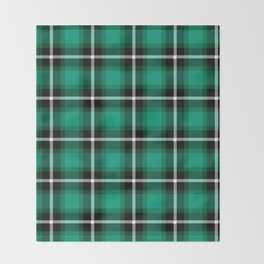 Emerald green color themed plaid SCOTTISH TARTAN Checkered Fabric Pattern background. Throw Blanket