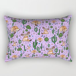 Fennec Foxes in Purple Rectangular Pillow