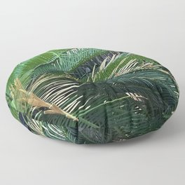 Exotic Tropical Island Palm Tree Leaves Floor Pillow