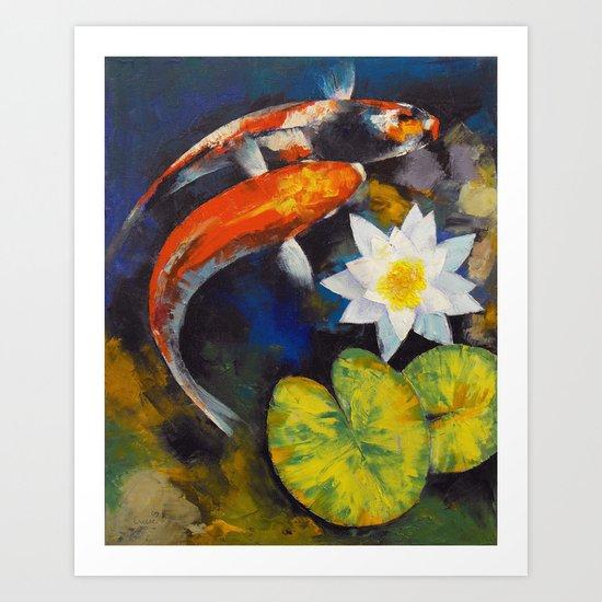 Koi Fish and Water Lily Art Print