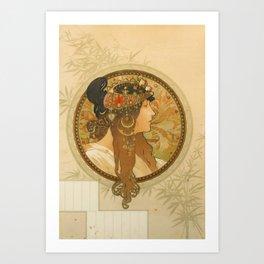 "Alphonse Mucha ""Byzantine Head: The Brunette"" Art Print"