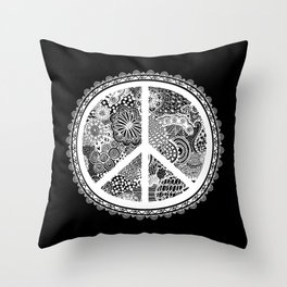 Zen Doodle Peace Symbol Black And White Throw Pillow
