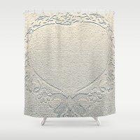 antique Shower Curtains featuring Antique Heart by Rose Etiennette