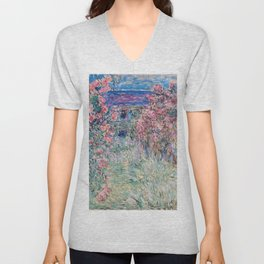 The House among the Roses by Claude Monet Unisex V-Neck