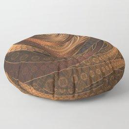 Earthen Brown Circular Fractal on a Woven Wicker Samurai Floor Pillow