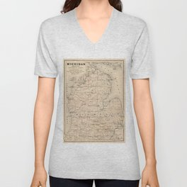 Vintage Map of Michigan (1873) 2 Unisex V-Neck