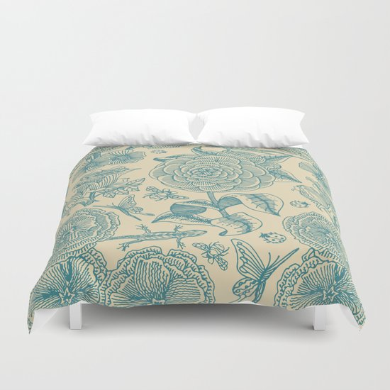 Garden Bliss - in teal & cream Duvet Cover