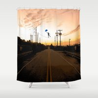 the wire Shower Curtains featuring Wire walker by Dale Pack
