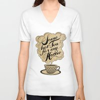 hot V-neck T-shirts featuring Some Hot Tea For My Hottie by Laura Graves