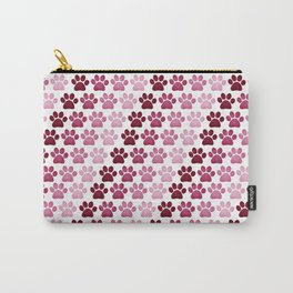 Paw Prints Pattern - Pink Carry-All Pouch