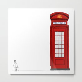 The Telephone Booth and Pigeon  Metal Print