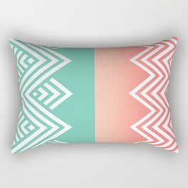 Aqua and Coral Chevron Rectangular Pillow