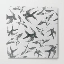 Swooping Swallows in Grey Metal Print