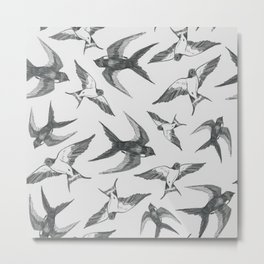 Swooping Swallows in Grey Metal Print