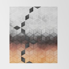 Ombre Concrete Cubes Throw Blanket