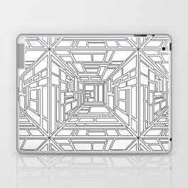 Abstract seamless op art pattern. Monochrome graphic black and white ornament. Striped optical illus Laptop & iPad Skin