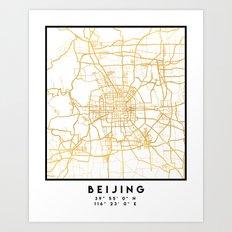 BEIJING CHINA CITY STREET MAP ART Art Print