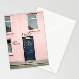 """Travel photography print """"Pastel pink bakery in Dingle Ireland"""" - Blue and pink print door Stationery Cards"""