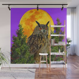LONG-EARED OWL & MOON PANTENE PURPLE  ART DESIGN Wall Mural