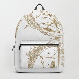 Desert Cactus Dreamcatcher in Gold Backpack