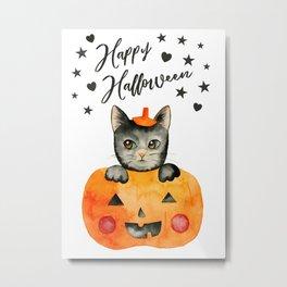 Black Halloween Cat in Jack O' Lantern Metal Print