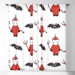 cute cartoon devil unicorns halloween pattern background with bats Blackout Curtain