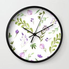 Purple Flower Field Wall Clock