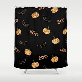 Halloween bat and pumpkin Shower Curtain