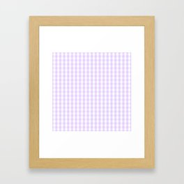 Chalky Pale Lilac Pastel and White Gingham Check Plaid Framed Art Print