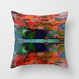 SURREAL RED POPPIES GREEN VASE REFLECTIONS Throw Pillow