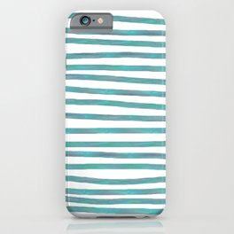 Ocean Green Hand-painted Stripes iPhone Case