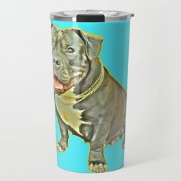 beautiful canine female dog smiles aquamarine perro fotografia american bully fondo azul Travel Mug