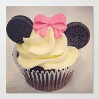 minnie mouse Canvas Prints featuring Minnie Mouse Cupcake by Loulabelle