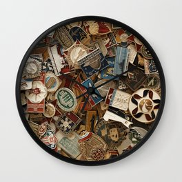 Retro badges collection Wall Clock