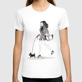 Houndstooth and a Scottie Watercolor Fashion Illustration T-shirt