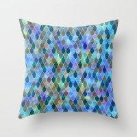 mermaid Throw Pillows featuring Mermaid by Schatzi Brown