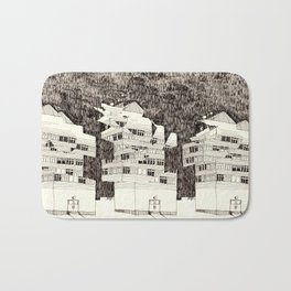 Building at Night with the Moon Bath Mat