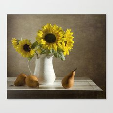 Sunflowers and pears Canvas Print