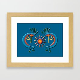 Southwest Kokopelli with Sun Turquoise Framed Art Print