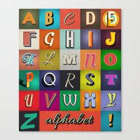 alphabet Canvas Prints featuring Alphabet by rob art | simple