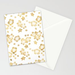 Gold Tropical Flowers Stationery Cards