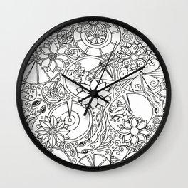 Koi Pond Coloring Page Wall Clock